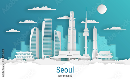 Paper cut style Seoul city, white color paper, vector stock illustration Canvas Print