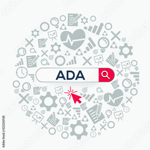 ADA mean (Americans with disabilities act) Word written in search bar,Vector illustration Wallpaper Mural