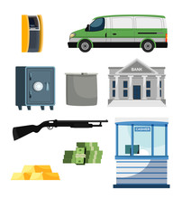 Bank, Finance And Money Collection Vector Set