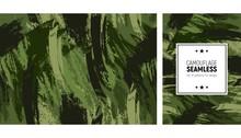 Seamless Brush Stroke Pattern. Camouflage Modern Background