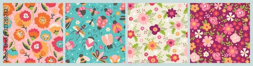 Seamless pattern for spring season. Childish background for fabric, wrapping paper, textile, wallpaper and cards.