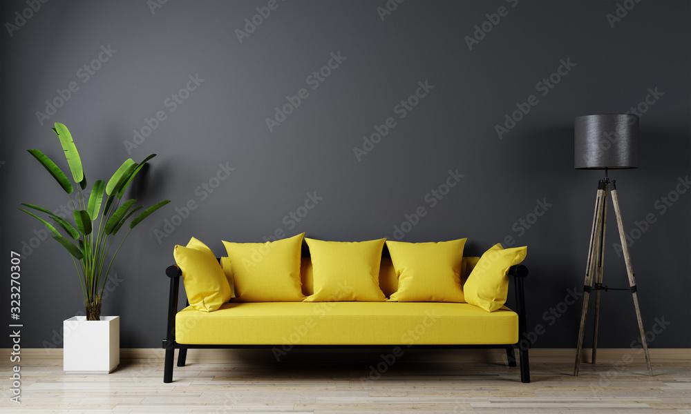 Fototapeta Home interior, luxury modern dark living room interior, black empty wall mock up, yellow 3d render