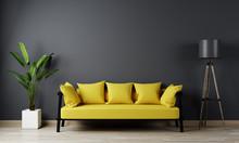 Home Interior, Luxury Modern Dark Living Room Interior, Black Empty Wall Mock Up, Yellow 3d Render