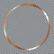 gold round frame on transparent background