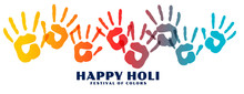 Happy Holi Colorful Hand Print...