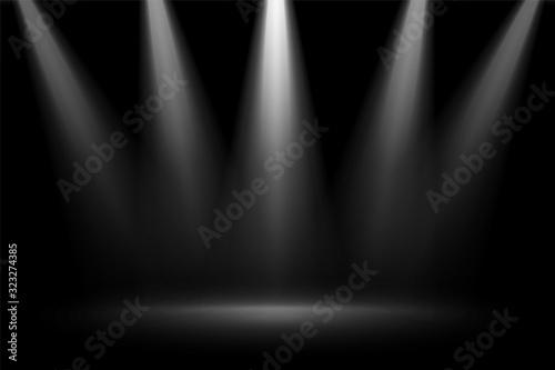 Obraz stage focus spotlights on black background - fototapety do salonu