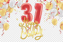 Happy Birthday 31 Years Anniversary Celebration Vector Template Design Party Balloons  Illustration