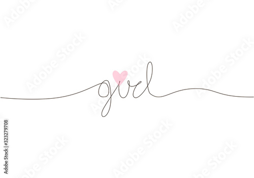 Girl handwritten inscription. Hand drawn lettering. One line calligraphic feminine text. Vector illustration