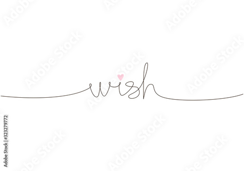 Wish handwritten inscription. Hand drawn lettering. One line calligraphic text. Vector illustration