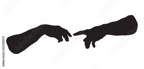 Hands of the creation of Adam. Vector drawing Canvas Print