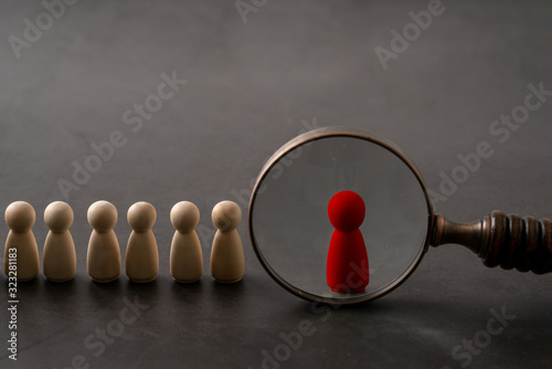 Obraz na plátně Business & HR global wood puzzle concept for leadership and team with peg doll a