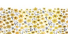 Seamless Vector Border Metallic Gold Foil Flower Field. Metallic Golden Black White Floral Pattern. Repeating Ditsy Flower Background. Summer Or Spring Nature Design. For Elegant Decor, Footer, Cards