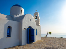 Cyprus. Protaras. Chapel Of St. Nicholas. White Church. Church By The Sea. White Church In The City Of Protaras. Tours Of The Chapels Of Cyprus. Holidays In The Mediterranean. Summer Vacation