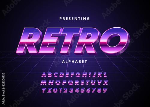 Vászonkép Retro Futuristic 80s font style