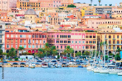 Fototapeta Cityscape with marina in Mediterranian sea in Cagliari