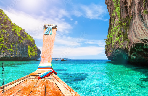 View of Loh Samah Bay in Phi Phi island, Thailand. Wallpaper Mural