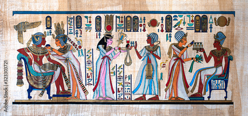 Ancient Egyptian painting on papyrus Canvas Print