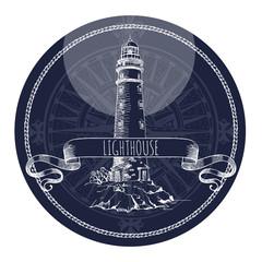 Fototapeta Morze Lighthouse. Vector sketch. Ancient architecture.