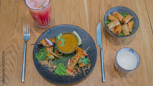 Yellow curry chicken skewers