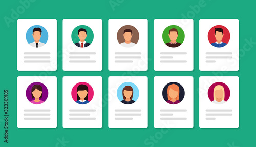 Obraz document ID with person photo. Vector icon in flat - fototapety do salonu