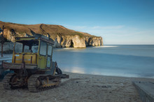 A Tractor On North Landing Beach At Flamborough