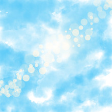 Background Watercolor Digital Paint Sky Blue With White Clouds And Bokeh Effect High Quality