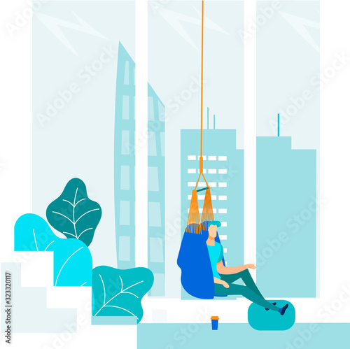Cartoon Company Office Worker Characters Having Rest and Relaxing in Comfortable Hammock Seat Canvas Print