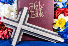 Wooden Cross And Holy Bible On...