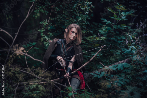 elf archer in the forest Canvas Print