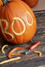 Halloween Pumpkin Being Carved...