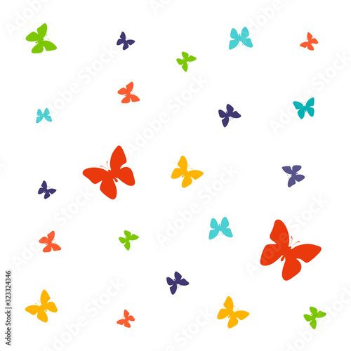 Fotografie, Obraz Set of spring vector drawings of butterflies, flowers on a white isolated background in flat style