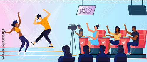 Photo Talent Show Recording Flat Vector Illustration
