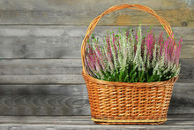 Heather Flowers In Woven Baske...