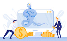 Young Men With Two Different Approaches For Growing Rich. Office Worker, Rolling Huge Golden Coin, Earning His Money Hard. Businessman In Blue Suit, Making Wish From Powerful Magic Genie.