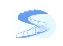 Spiral Staircase Side View Isolated On White Background, Architecture Design Element For Building Interior, Stairs Projection Contour Which Have Shape Of Circle, Cartoon Flat Vector Illustration, Icon