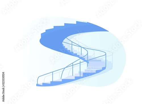 Valokuvatapetti Spiral Staircase Side View Isolated on White Background, Architecture Design Ele