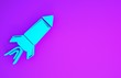 Blue Rocket ship with fire icon isolated on purple background. Space travel. Minimalism concept. 3d illustration 3D render