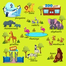 Zoo Map With Giraffe, Lions, M...
