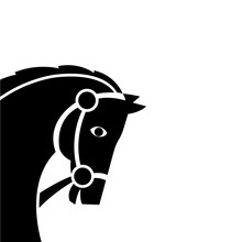 Horse Icon Vector Illustration Isolated On White Background. Silhouette Of A Horse Head