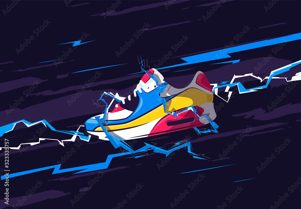 Vector illustration of a sports sneaker with zippers, stylish design of a poster with shoes