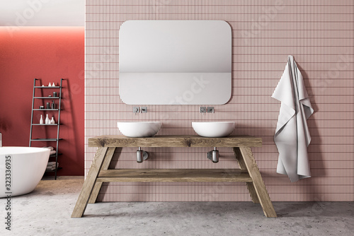 Fototapeta Red and pink bathroom, tub and double sink obraz
