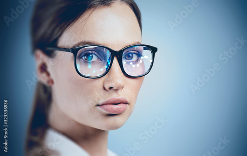 Beautiful young woman in AR glasses Poster Mural XXL