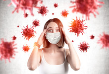 Scared Young Girl In Mask, Coronavirus Panic