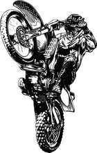 Motocross Bike Wheely Vector I...