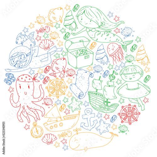 Diving pattern with children Wallpaper Mural