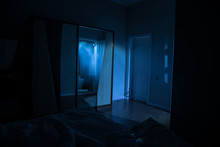A Creepy Bedroom Scenery, Silh...
