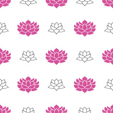 Lotus Flower Seamless Pattern, Hand Drawn Doodle Background. Vector Illustration