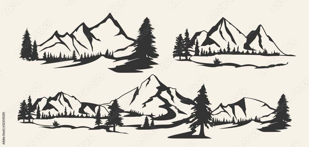 Fototapeta Set of mountains. Collection of stylized mountain landscapes. Black and white illustration of mountains. Linear art. Logo.