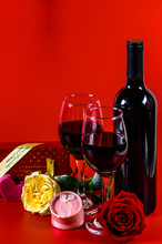 Roses, Red Wine, Gift Box And ...