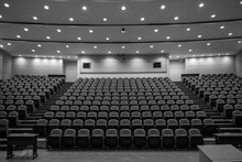 School Closure, Empty Lecture Hall, Black And White, Online School